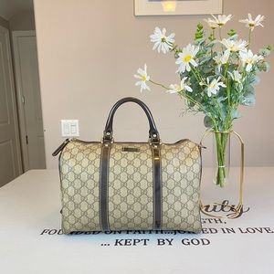 Gucci GG Logo Printed Boston Bag Satchel